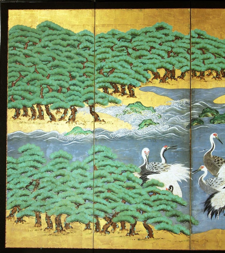 Cranes and pines by the sea: Japanese Kano School, six-panel screen from the mid-Edo period. Painted with mineral pigments on gold leaf and rice paper.