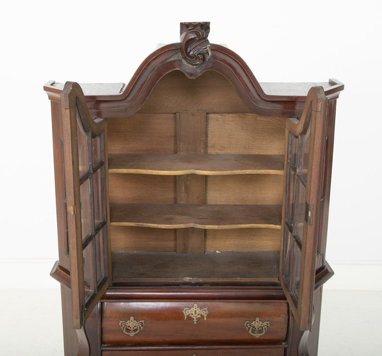 European 18th Century Miniature Dutch Kettle Base Paw Foot Bookcase For Sale