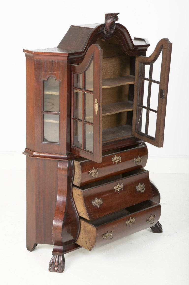18th Century Miniature Dutch Kettle Base Paw Foot Bookcase In Good Condition For Sale In Port Chester, NY