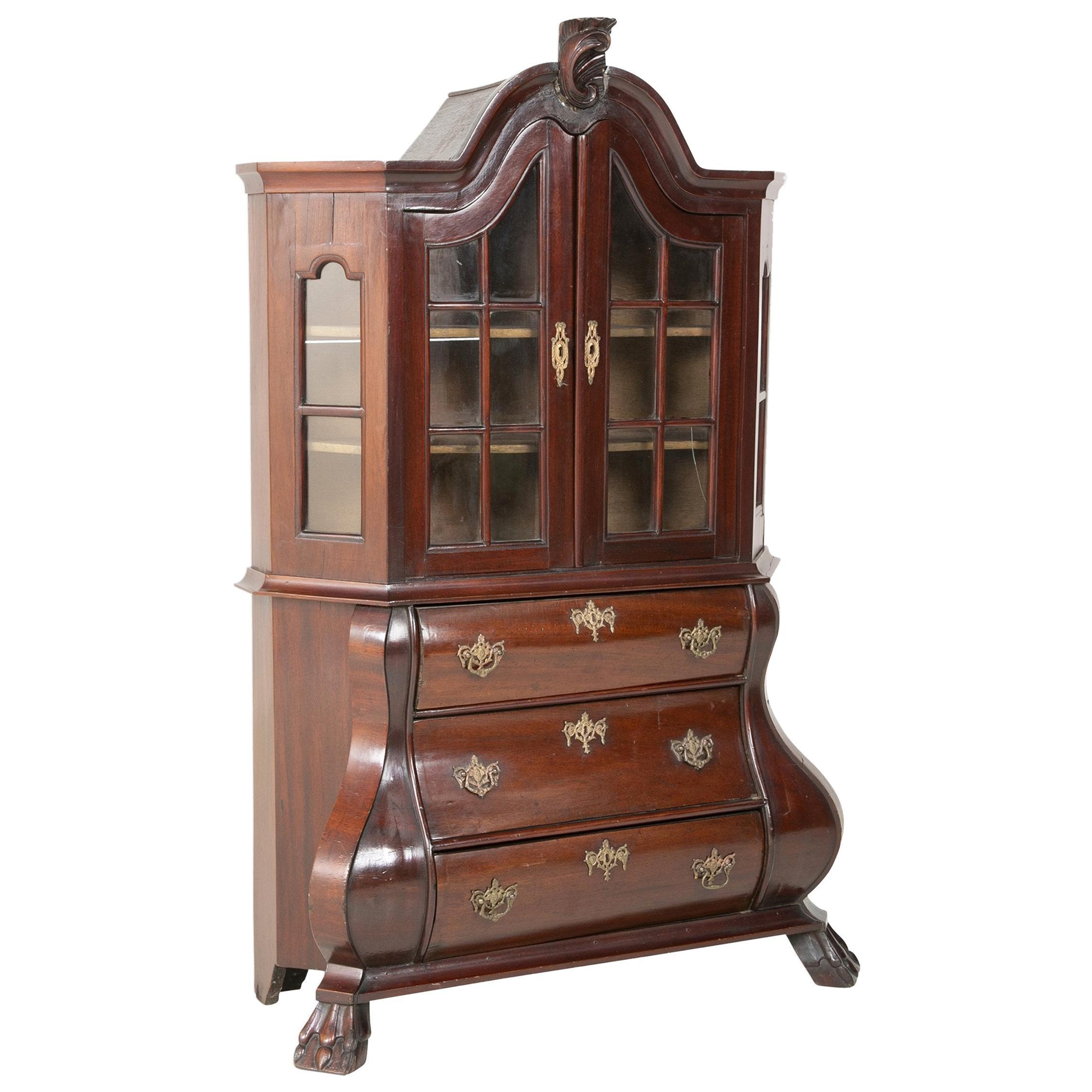 18th Century Miniature Dutch Kettle Base Paw Foot Bookcase