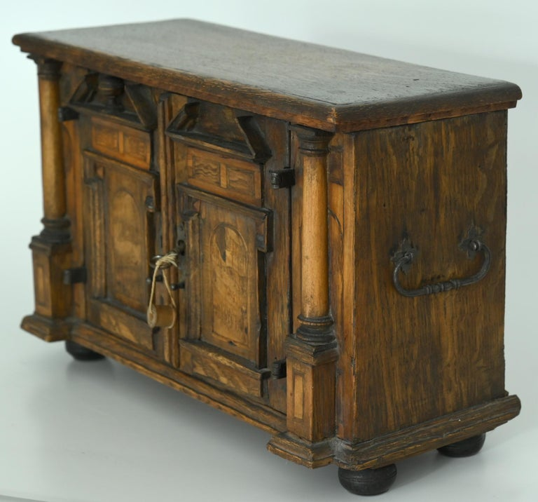 18th Century Model Sideboard Renaissance Style German Miniature Furniture In Good Condition For Sale In Epfach, DE