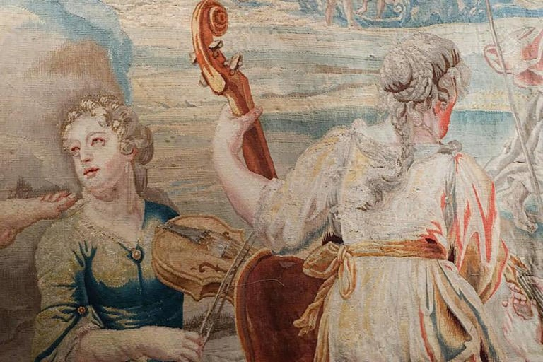 Classical Greek 18th Century Monumental Antique Tapestry from Brussels, Wedding of Psyché For Sale