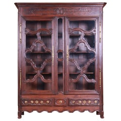 18th Century Monumental French Provincial Louis XV Carved Oak Bookcase
