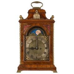 18th Century Moon Phase Dial Bracket Clock by Trewinnard of London