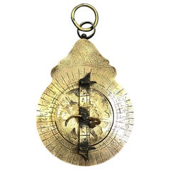 18th Century Moroccan Etched Brass Astrolabe, Arabic Antique Scientific Decor