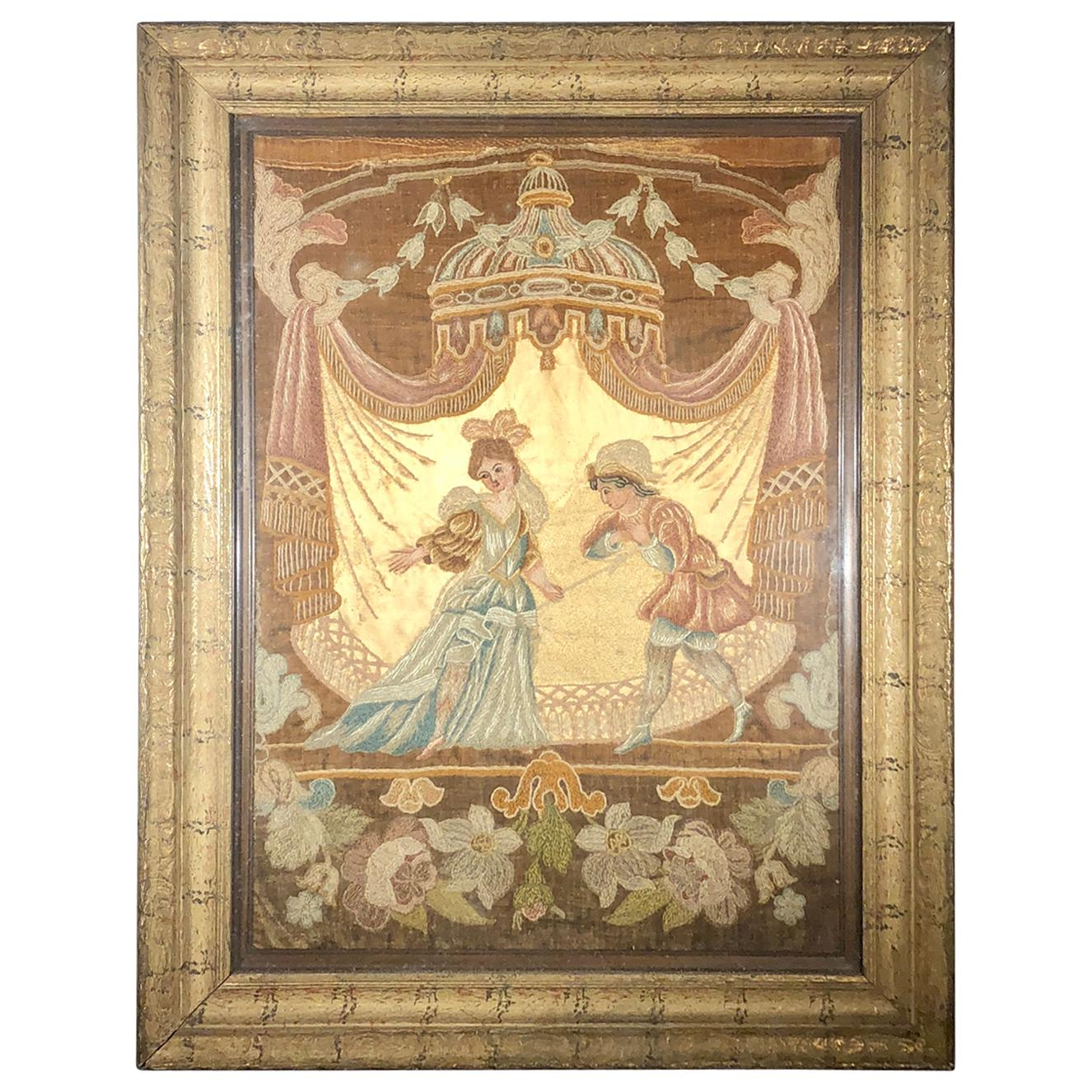 18th Century Needlepoint in Frame