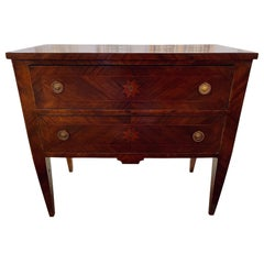 18th Century Neoclassical Inlaid Walnut 2-Drawer Chest