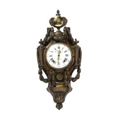 18th Century Neoclassical Bronze & Polished Brass Wall Clock w/ Chime by Caron