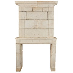 18th Century Neoclassical French Limestone Fireplace Surround