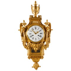 18th Century Neoclassical French Louis XVI Gilt Bronze Cartel Clock