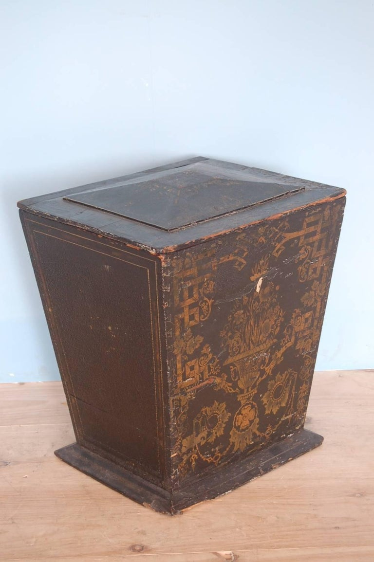 Unusual 18th century, neoclassical Gustavian chinoiserie bin, origin; Sweden, circa 1775. Top opens; great for kindling,  trash bin and/ or any storage.