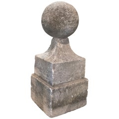 18th Century Neoclassical Hand Carved Stone Finial with Square Base and Ball