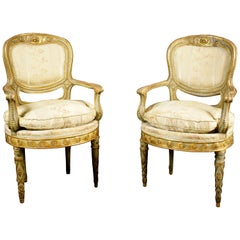18th Century Neoclassical Lacquered Gilded Carved Wood Pair of Armchairs
