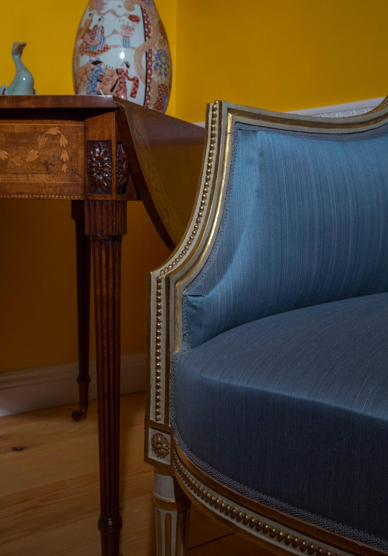 18th Century Neoclassical Pair of Cream Painted and Gilded Armchairs For Sale 5