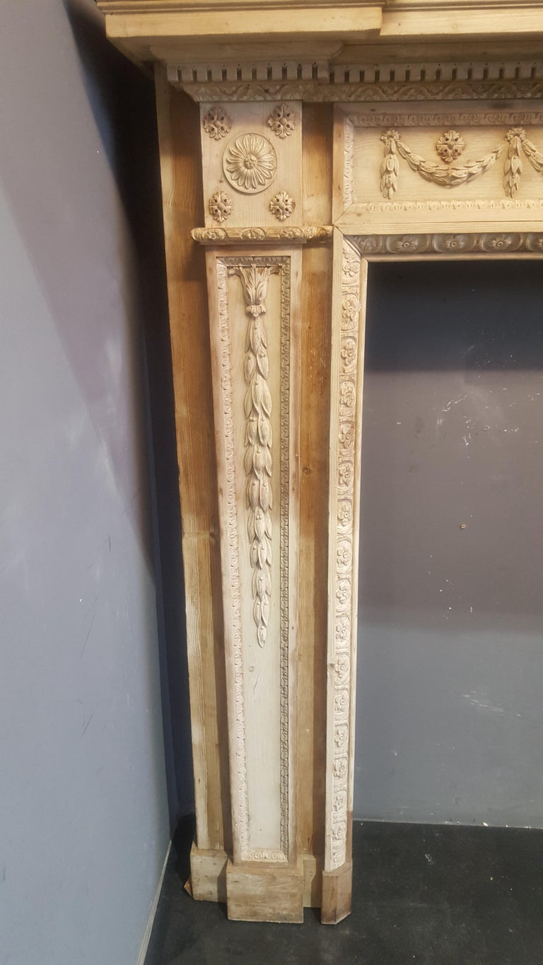 English 18th Century Neoclassical Pine Mantel For Sale