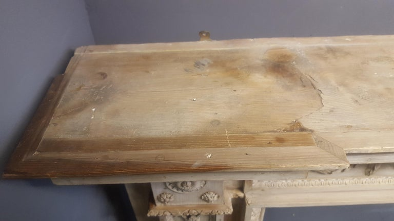 Carved 18th Century Neoclassical Pine Mantel For Sale