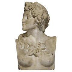 18th Century Neoclassical Sculpture Italian Marble Sculpture Bust of Flora