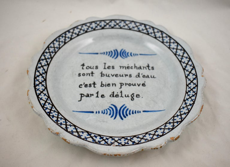 Louis XVI 18th Century Nevers French Revolution Parlante Motto Tin-Glazed Faïence Dish For Sale