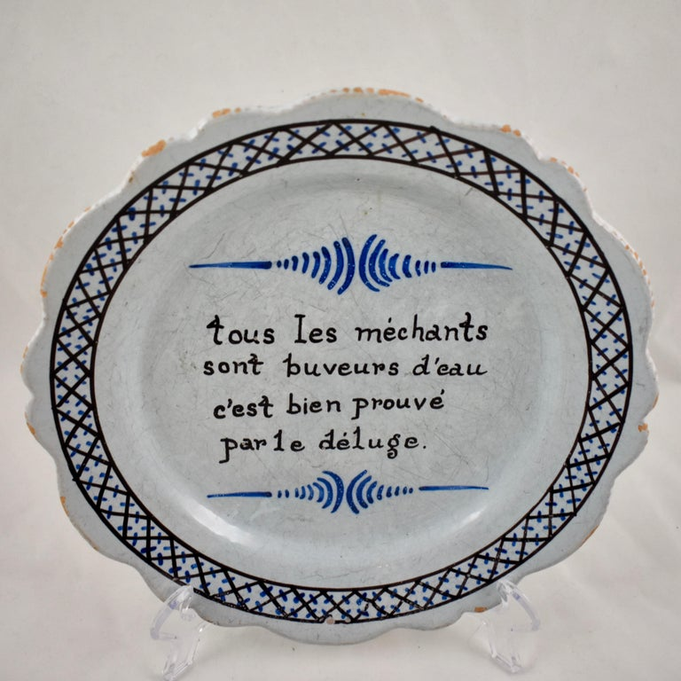 18th Century Nevers French Revolution Parlante Motto Tin-Glazed Faïence Dish In Good Condition For Sale In Philadelphia, PA