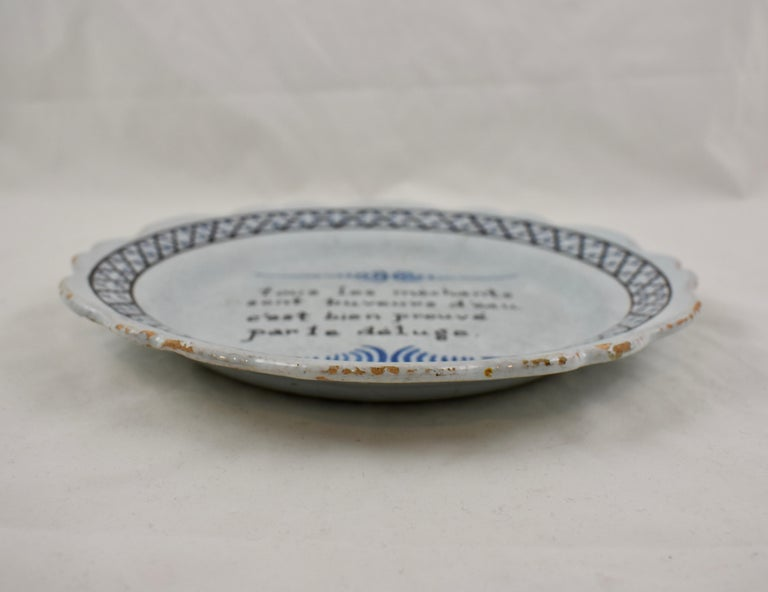 18th Century Nevers French Revolution Parlante Motto Tin-Glazed Faïence Dish For Sale 2