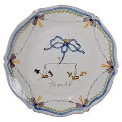 18th Century Nevers French Revolution Tin-Glazed Faïence Dish, L'équité