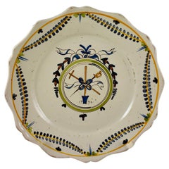18th Century Nevers French Revolution Tin-Glazed Faïence Dish Les Trois Domaines