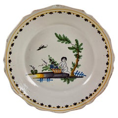 18th Century Nevers French Revolution Tin-Glazed Faïence Dish, the End of Famine