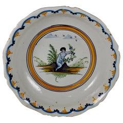 18th Century Nevers French Revolution Tin-Glazed Faïence Saladier / Serving Bowl