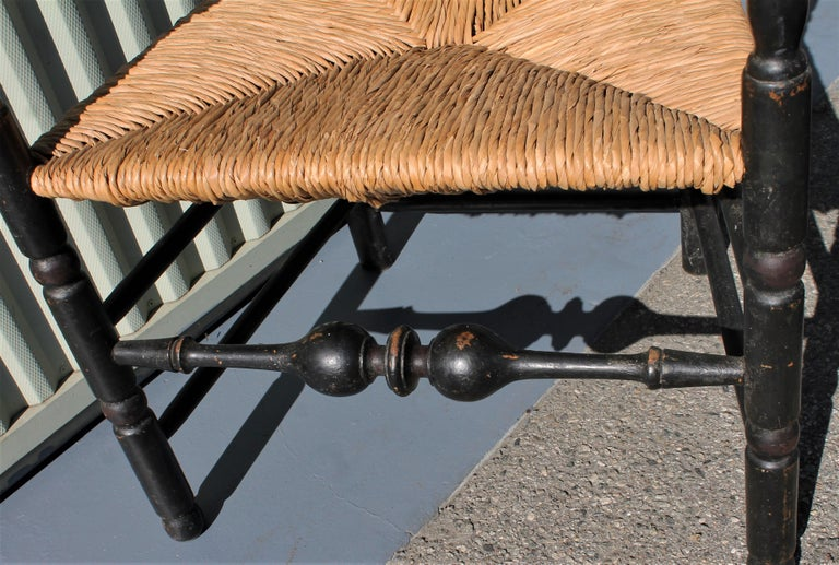 18th Century New England Ladderback Chair in Original Black Paint For Sale 2