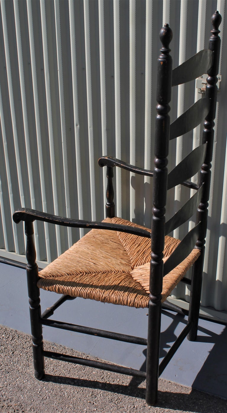 Country 18th Century New England Ladderback Chair in Original Black Paint For Sale