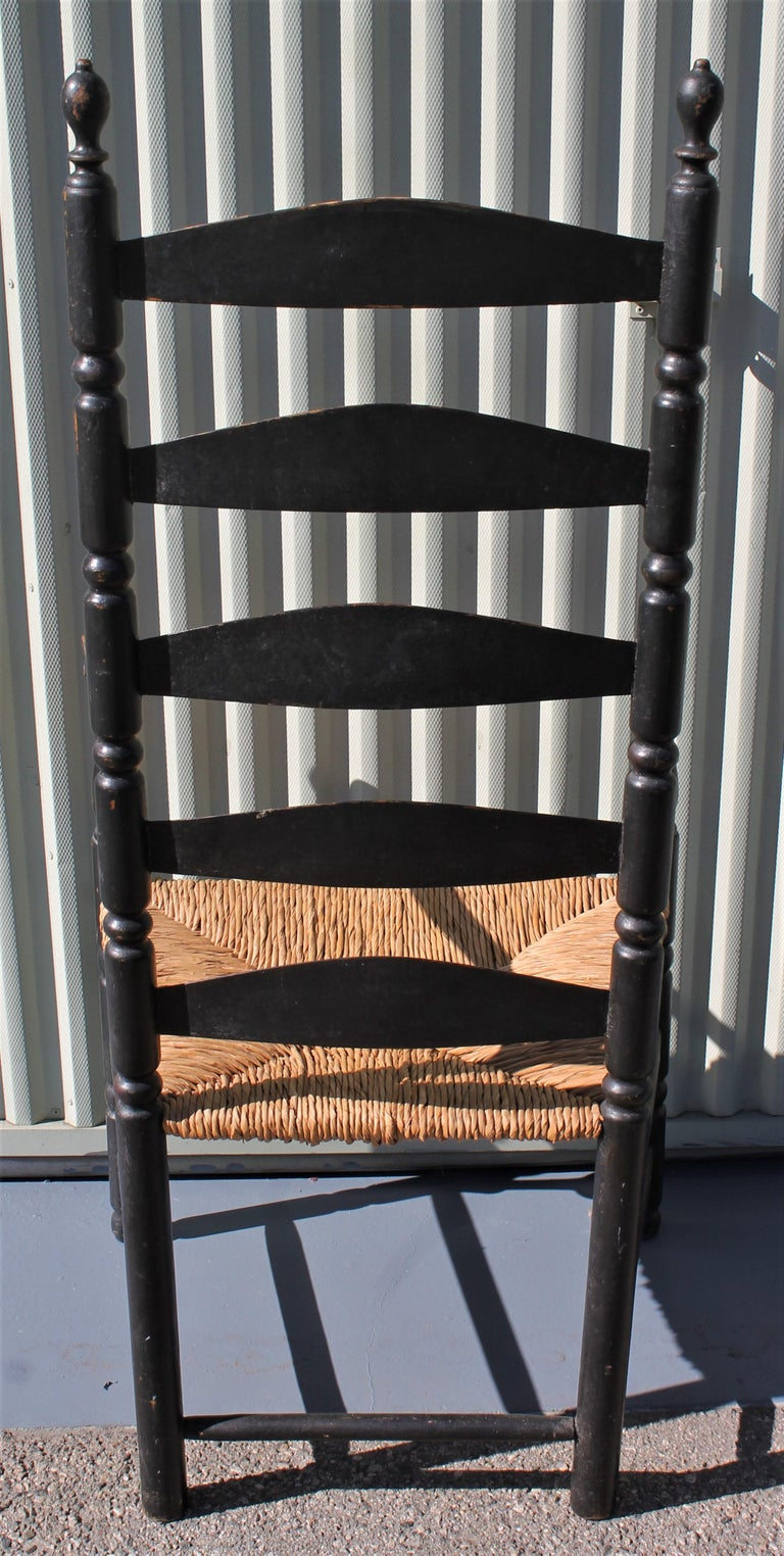 American 18th Century New England Ladderback Chair in Original Black Paint For Sale