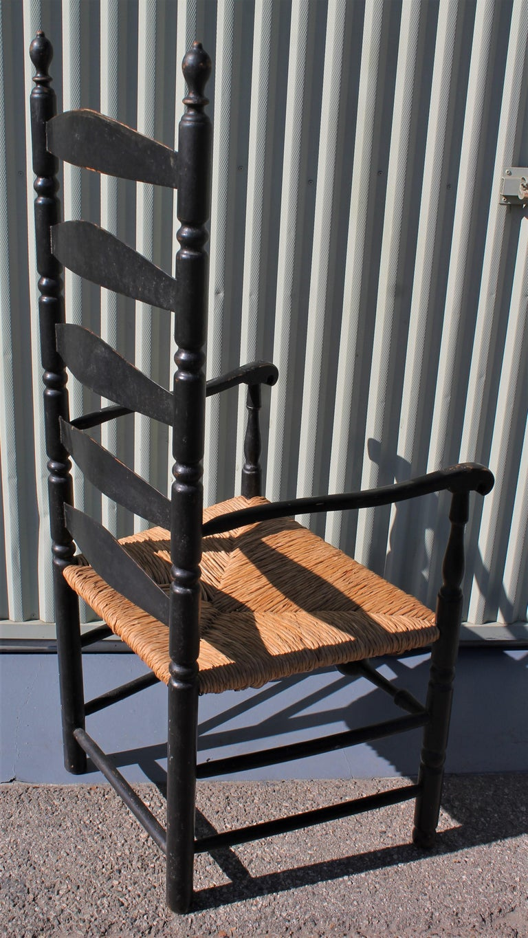 Hand-Crafted 18th Century New England Ladderback Chair in Original Black Paint For Sale