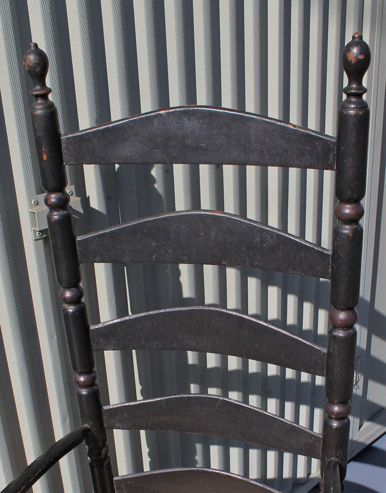 Wood 18th Century New England Ladderback Chair in Original Black Paint For Sale