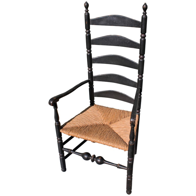 18th Century New England Ladderback Chair in Original Black Paint For Sale