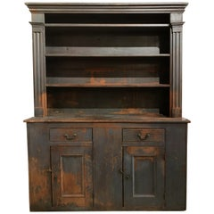 18th Century New England Primitive Blue Painted Pewter Cupboard or Hutch
