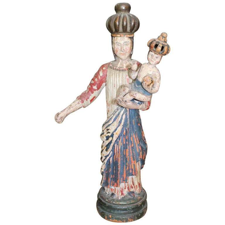 18th Century North Spanish Polychrome Wooden Virgin Sculpture For Sale