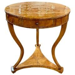 18th Century Northern Italian Walnut Side Table with Star Inlay