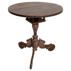 18th Century Norwegian Tripod Based Scrolled Detail Birdcage Side Table
