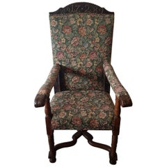 18th Century Nutwood Armchair Dated with Brass Nails, 1728