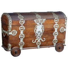 18th Century Oak and Metal Bound Trunk on Wheels