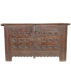 18th Century Oak Coffer, Trunk, Chest of Arms