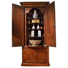 18th Century Oak Double Height Standing Corner Cupboard
