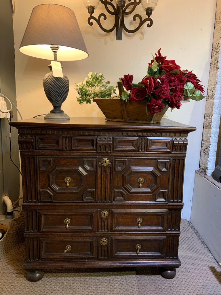 Hand-Crafted 18th Century Oak Geometric Chest of Drawers For Sale