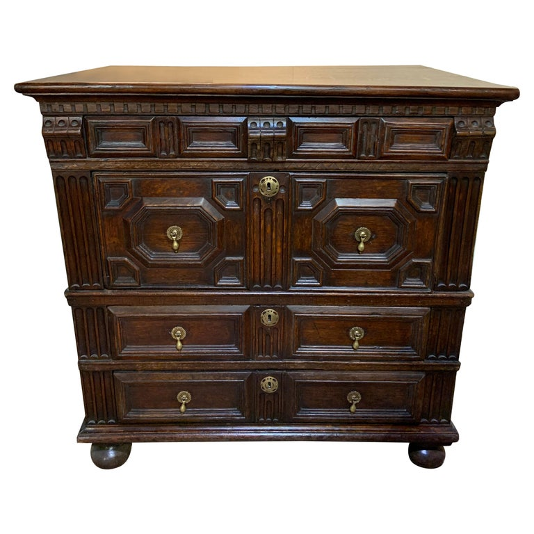 18th Century Oak Geometric Chest of Drawers For Sale
