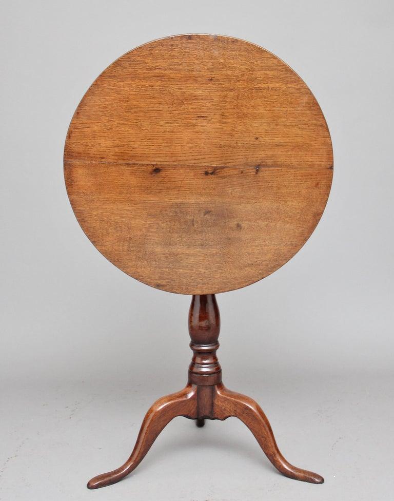Georgian 18th Century Oak Tripod Table For Sale