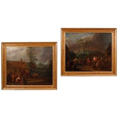 18th Century Oil Canvas Flemish Popular Scenes with Characters Paintings, 1780