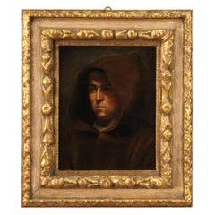 18th Century Oil on Canvas Antique Italian Friar Portrait Painting, 1760