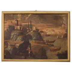 18th Century Oil on Canvas Antique Italian Landscape Painting, 1770
