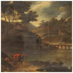 18th Century Oil on Canvas Antique Italian Landscape Painting, 1770