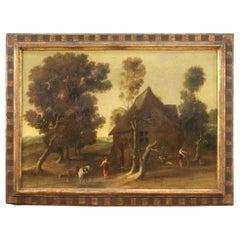 18th Century Oil on Canvas Antique Italian Landscape Painting, 1780